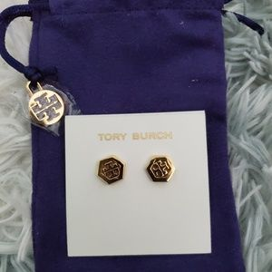 Tory Burch Hex-Logo Stud Earrings